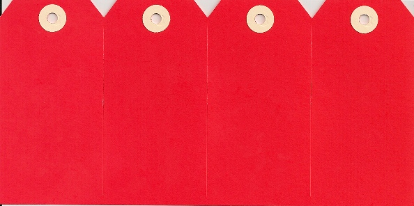 #6 13 POINT RED GANGS OF 4 TAGS (250 SHEETS)