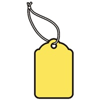 1-1/4X13/16 YELLOW MERCHANDISE TAGS w/white knotted polyester string  1000s