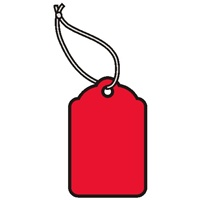 1-1/4 X 13/16 RED MERCHANDISE TAGS w/white knotted polyester string  1000s