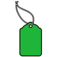 1-1/4 X 13/16 GREEN MERCHANDISE TAGS w/white knotted polyester string  1000s