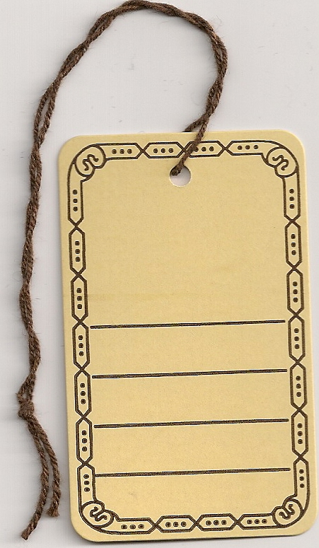 BORDER/UTILITY TAGS W/STRING ATACHED (2X3) BUFF ROUND CORNERS. 1000s