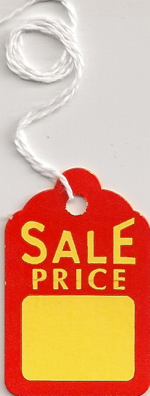 1-1/4 X 1-7/8 YELLOW/RED SALE PRICE STRUNG TAGS 1000s