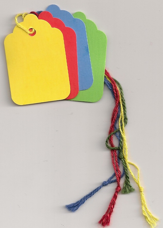 1-3/4 X 1-1/8  5 COLORS STRUNG MERCHANDISE TAGS 100s