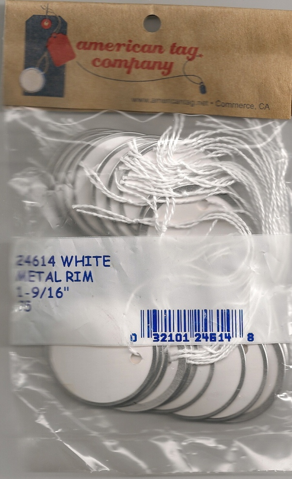 "1 9/16"" WHITE STRUNG METAL RIM TAGS 25/PK"