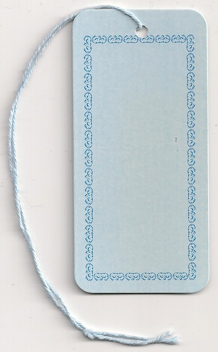 BORDER TAG W/STRING ATTACHED  (1-3/8X2-7/8) LT. BLUE ROUND CORNERS 25/PK