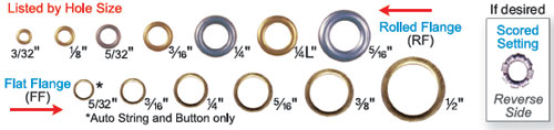 "1/4"" EYELETS - ASSORTED METAL 1000s"