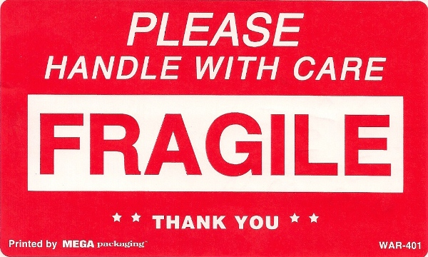 3 X 5 FRAGILE HANDLE WITH CARE LABELS 50/PK