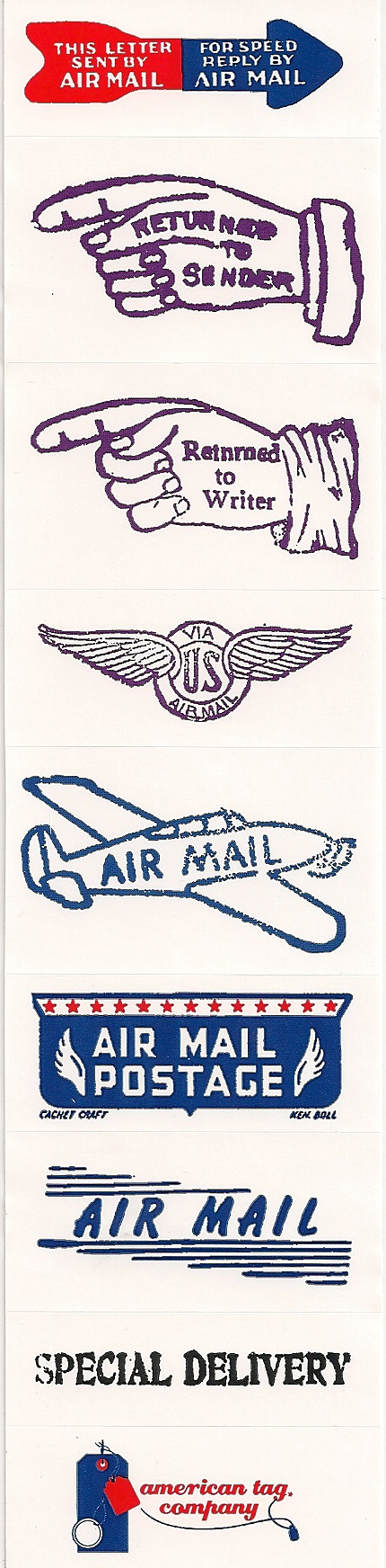 2-1/8 X 8-7/8 DOMESTIC AIRMAIL LABELS 250s