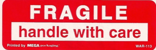 1 X 3 FRAGILE-HANDLE WITH CARE LABELS 50/PK