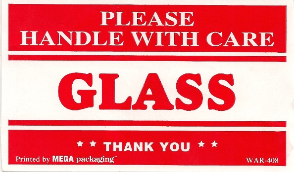 4 X 6 GLASS HANDLE WITH CARE LABELS 500/RL